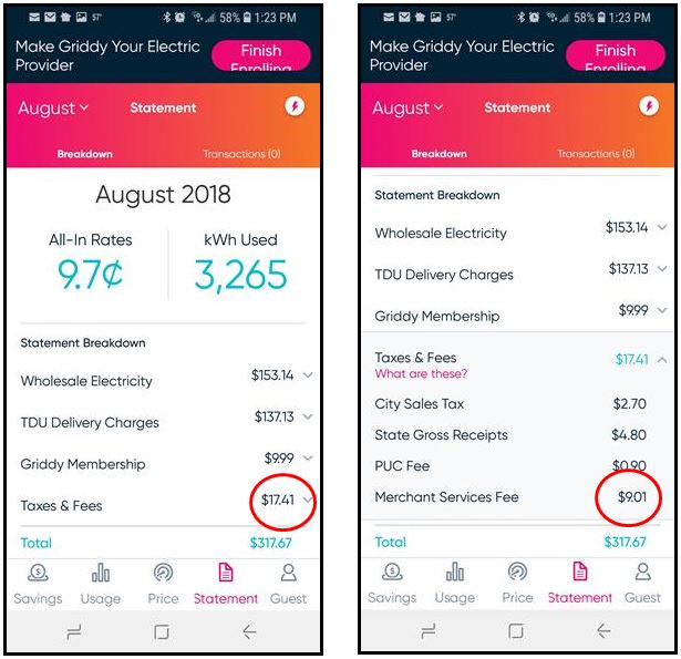 The default statement view on the Griddy App (left) hides the Merchant Services Fee in the Taxes & Fees Category. You have to click on the down arrow next to the Taxes & Fees value to see the details, including the unusual Merchant Services Fee.