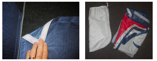 Hook fastener backing on all 4 edges                 Folds into convenient carry bag
