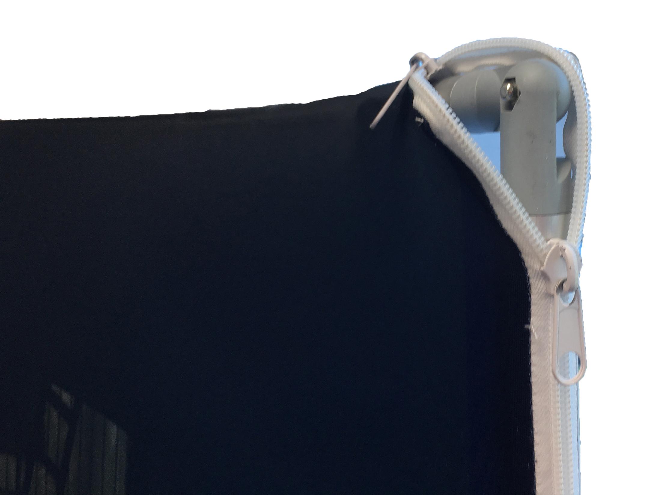 Kwik Zip Wall Display - close up of heavy duty zip that secures fabric print to aluminium display