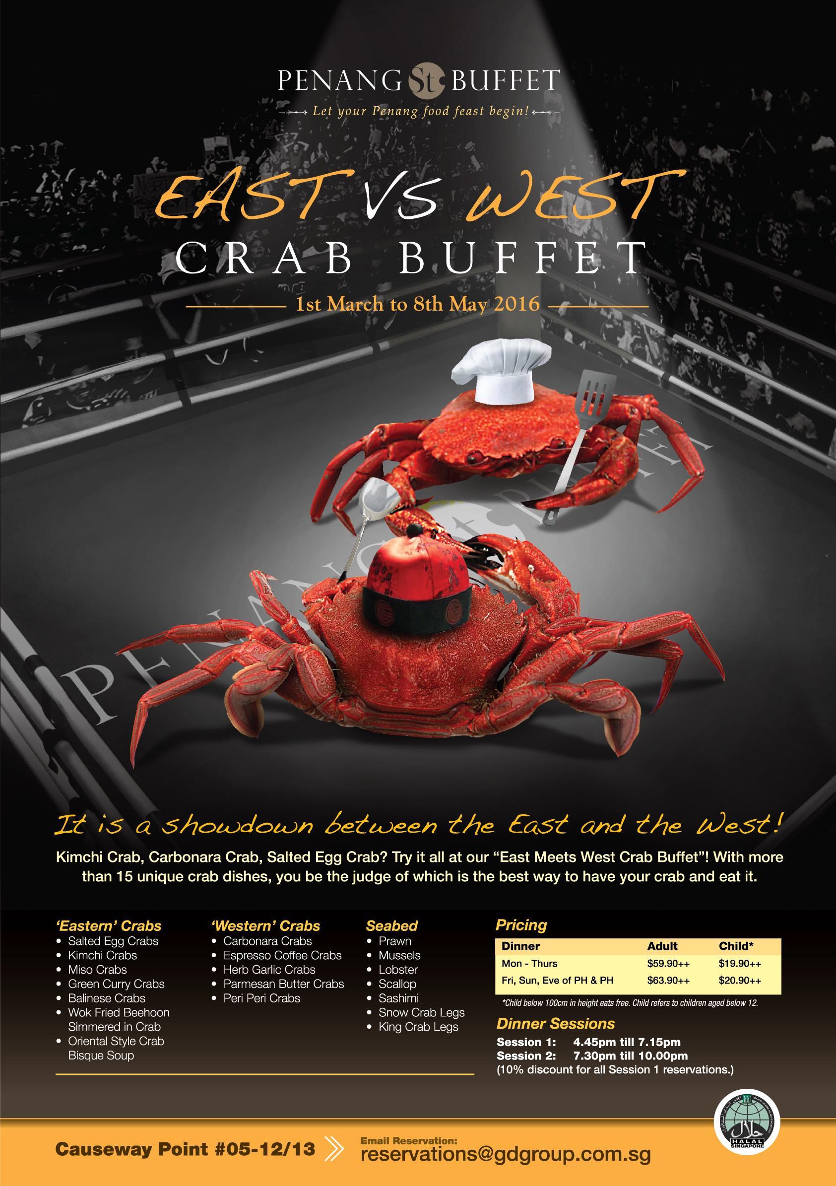 Penang St Bufet East vs West Crab Buffet