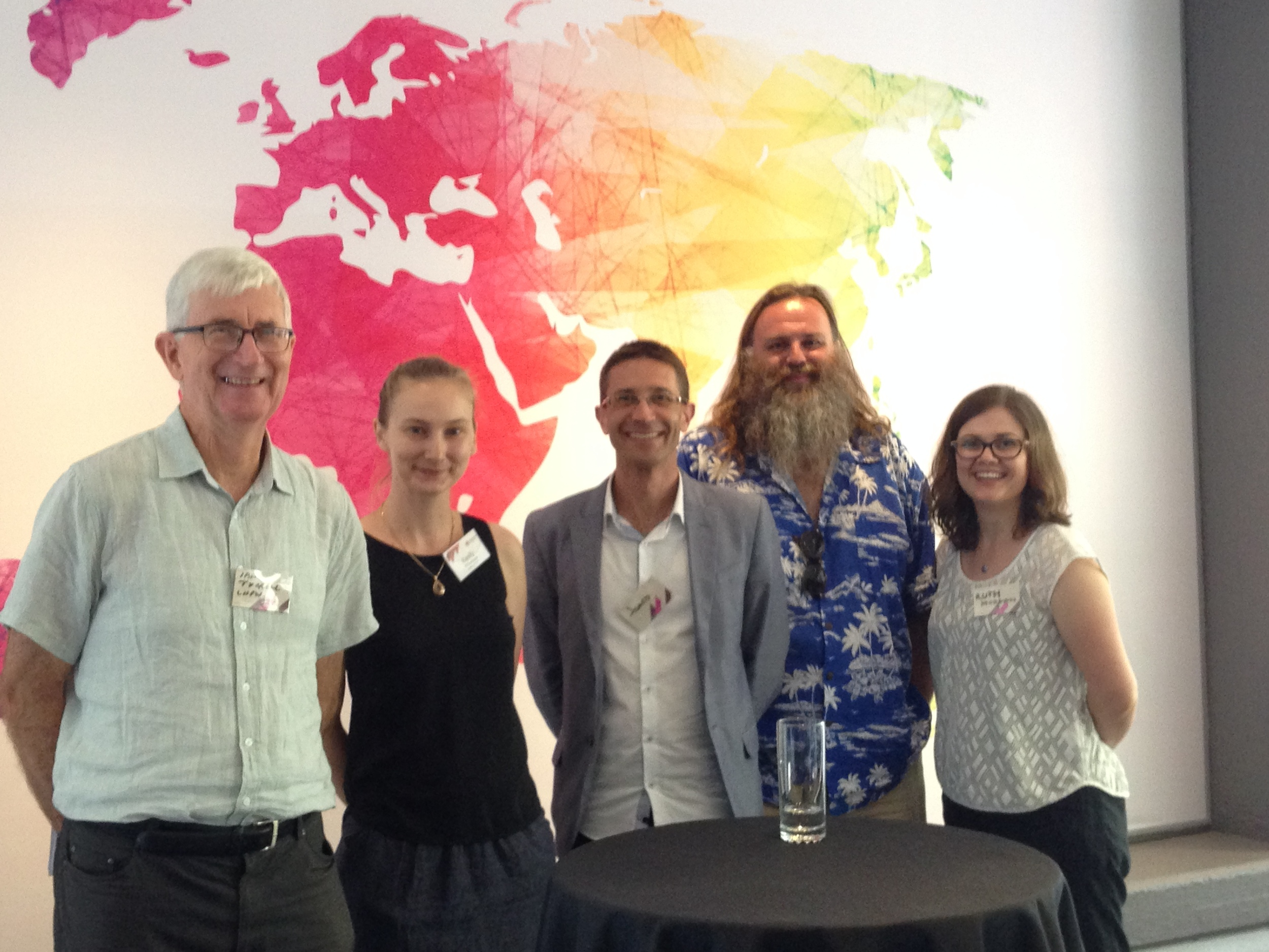 Ian Tyrrell (University of New South Wales) launches  Climate, Science, and Colonization: Histories from Australia and New Zealand  (Palgrave, 2014), edited by James Beattie, conference co-convenor Emily O'Gorman, and Matthew Henry. L-R: Tyrrell, O'Gorman, Beattie, and contributors Chris O'Brien and Ruth Morgan. [Photo by conference co-convenor Alessandro Antonello]