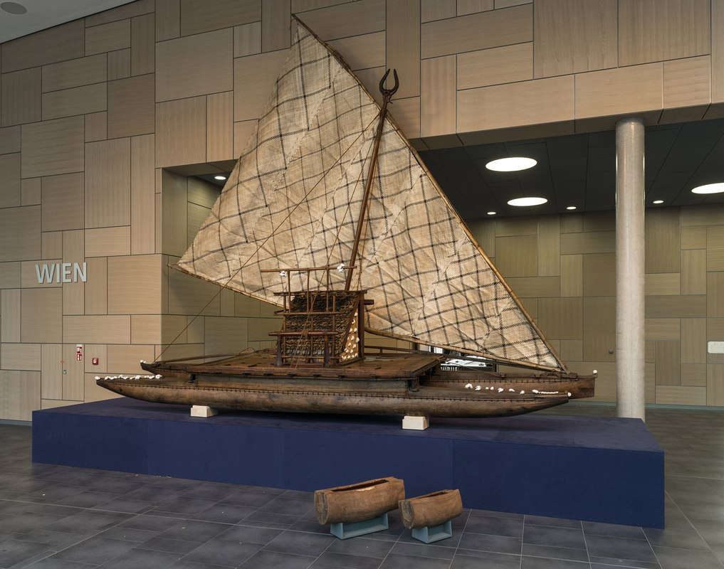 The  Adi Yeta  on display in the Bula Zone. This  drua  is an 8-metre long traditional double-hulled, open ocean sailing canoe. Made from tropical hardwood and coconut fibre, the  Adi Yeta  was built in Suva, Fiji several years ago and was shipped to Bonn from the National Maritime Museum in Greenwich, UK. This  drua  will be permanently displayed in their new Pacific Encounters gallery in late 2018. Photograph courtesy of  UNFCCC COP23 .