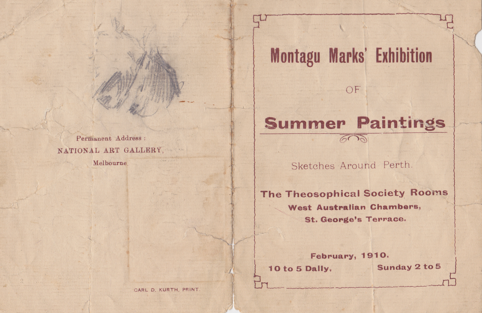 1910 catalogue of Montague Marks exhibition