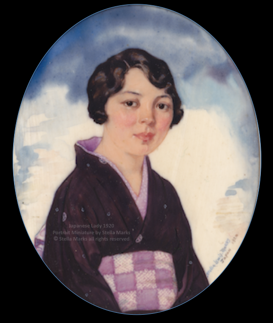 Mrs. T. Akaboshi, a Japanese lady 1920. portrait miniature by stella marks. copyright stella marks all rights reserved. Private Collection.
