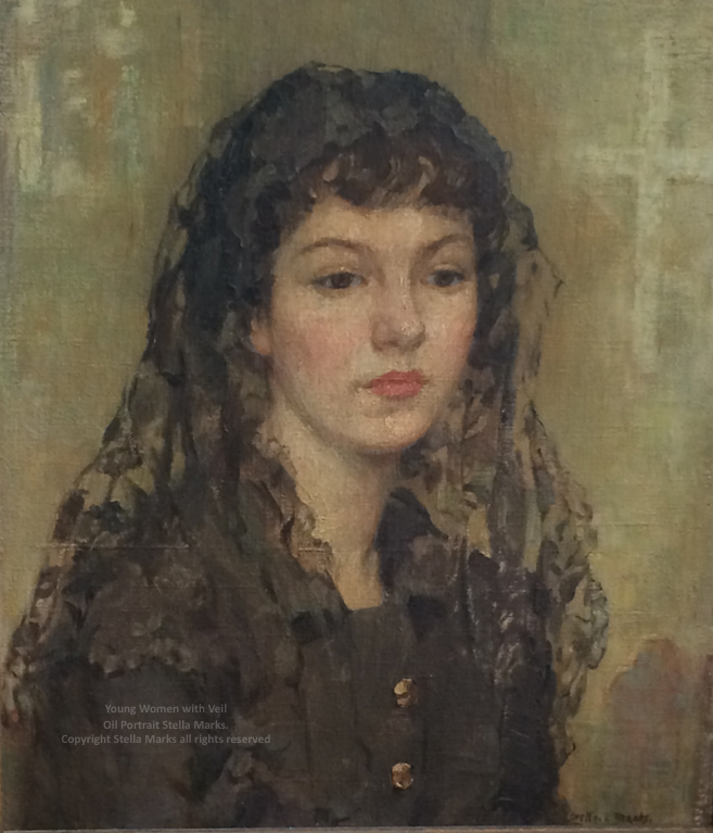 Young Women with a veil. oil portrait by stella marks. copyright stella marks' Estate all rights reserved. Private Collection.