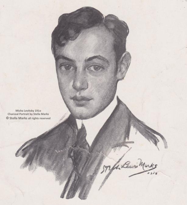 Micha Levitsky aged 17. Charcaol portrait by stella marks. copyright stella marks' Estatall rights reserved