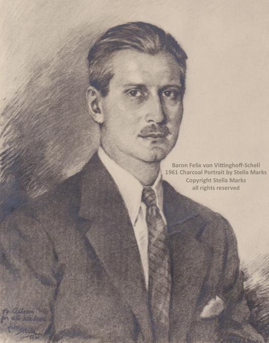 Baron felix von vittinghoff-schell 1961. charcoal portrait by stella marks. copyright stella Marks' Estate all rights reserved