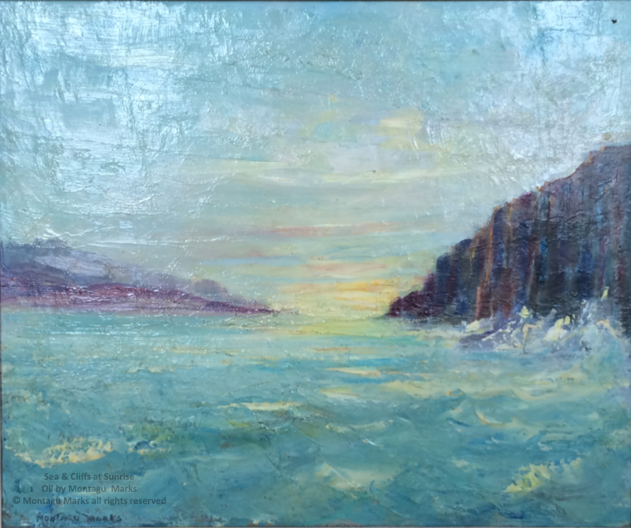 Sea & Cliffs at sunrise. oils by montagu marks copyright all rights reserved. Private Collection.