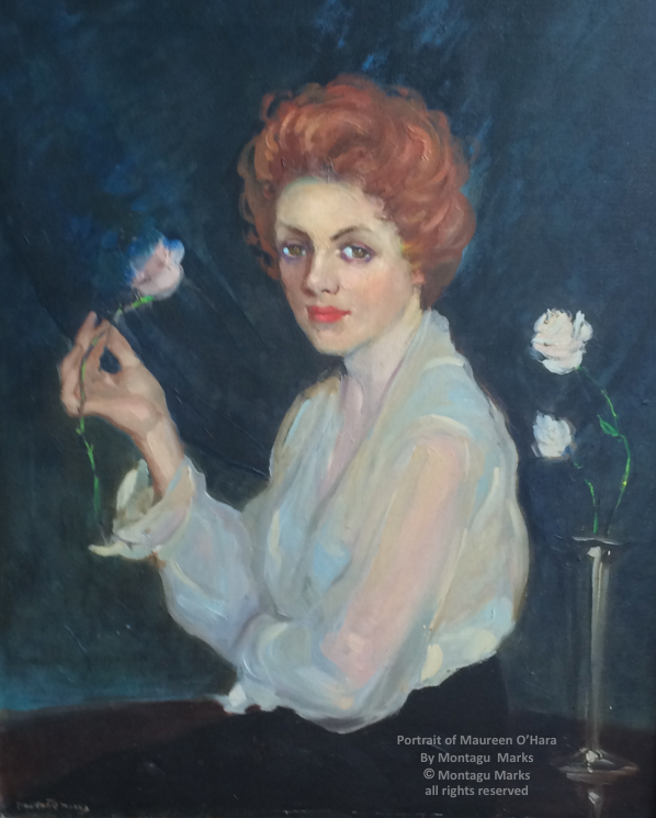 Maureen o'hara portrait by montagu marks, Circa 1959. copyright montagu marks Estate. all rights reserved. Private Collection.