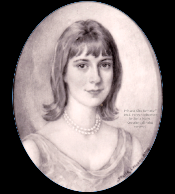 Princess Olga Andreevna Romanoff 1963. Black & white Photograph of a Portrait miniature by stella Marks. copyright Stella Marks' Estate all rights reserved. Lost.