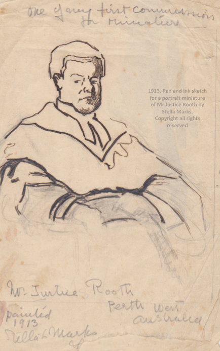 Pen and ink Rough sketch for portrait of Mr. justice Rooth 1913. Copyright stella marks's Estate all rights reserved. Private Collection.