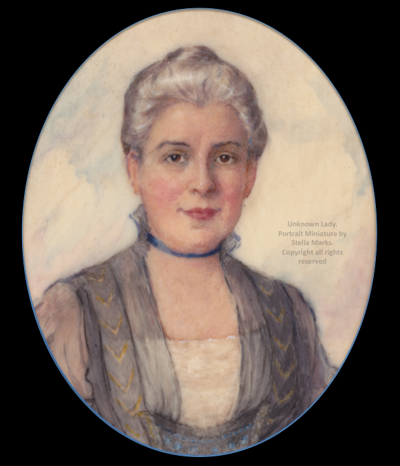 Portrait Miniature (sitter unknown) by Stella Marks. Copyright Stella Marks' Estate all rights reserved. Private Collection.