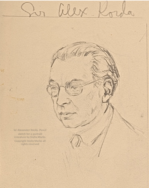 Pencil sketch for a portrait miniature of Sir Alexander Korda by Stella Marks. Copyright Stella Marks' estate all rights reserved. Private Collection.