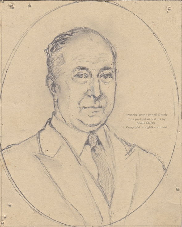 Pencil Sketch for a miniature of ignacio fuster by stella marks. copyright stella marks' Estate all rights reserved