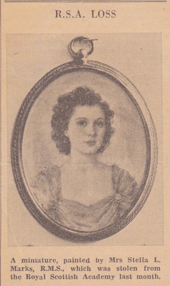 1943 News item on stella marks' portrait Miniature of Miss betty ince