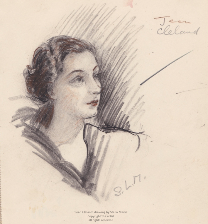 'Jean Cleland' drawing by Stella Marks. Copyright Stella Marks' Estate all rights reserved. Private Collection.