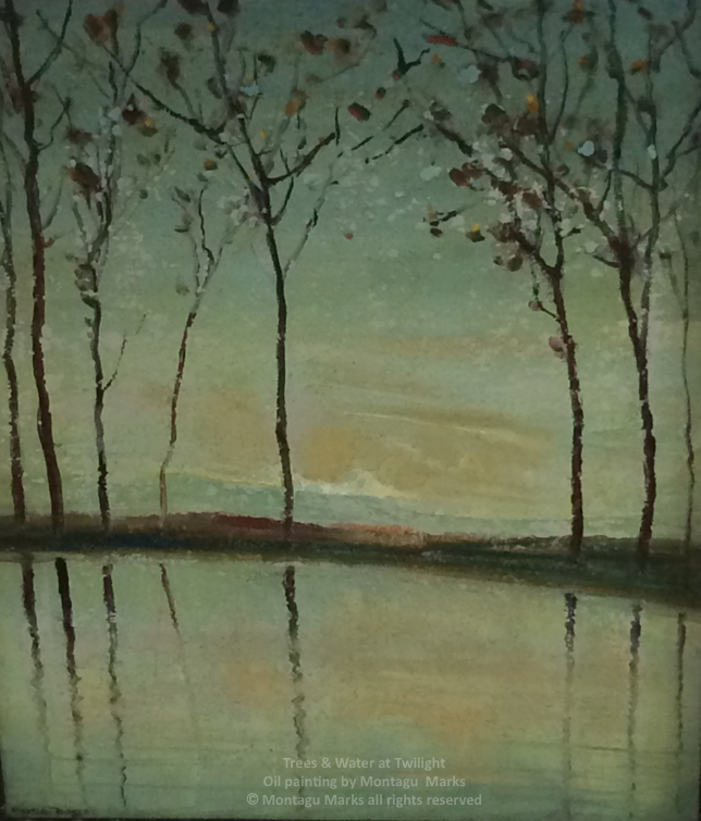 trees & water at twilight by montagu marks. copyright all rights reserved. Private Collection.