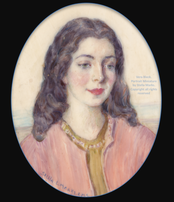 Portrait Miniature of 'Vera Bleck' by Stella Marks. Copyright Stella Marks all rights reserved. Private Collection.