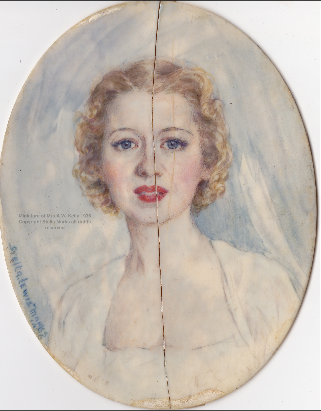 Stella Mark's portrait miniature (damaged) of Mrs. Arthur Kelly, 1936. Copyright Stella Marks' Estate all rights reserved. Private Collection.