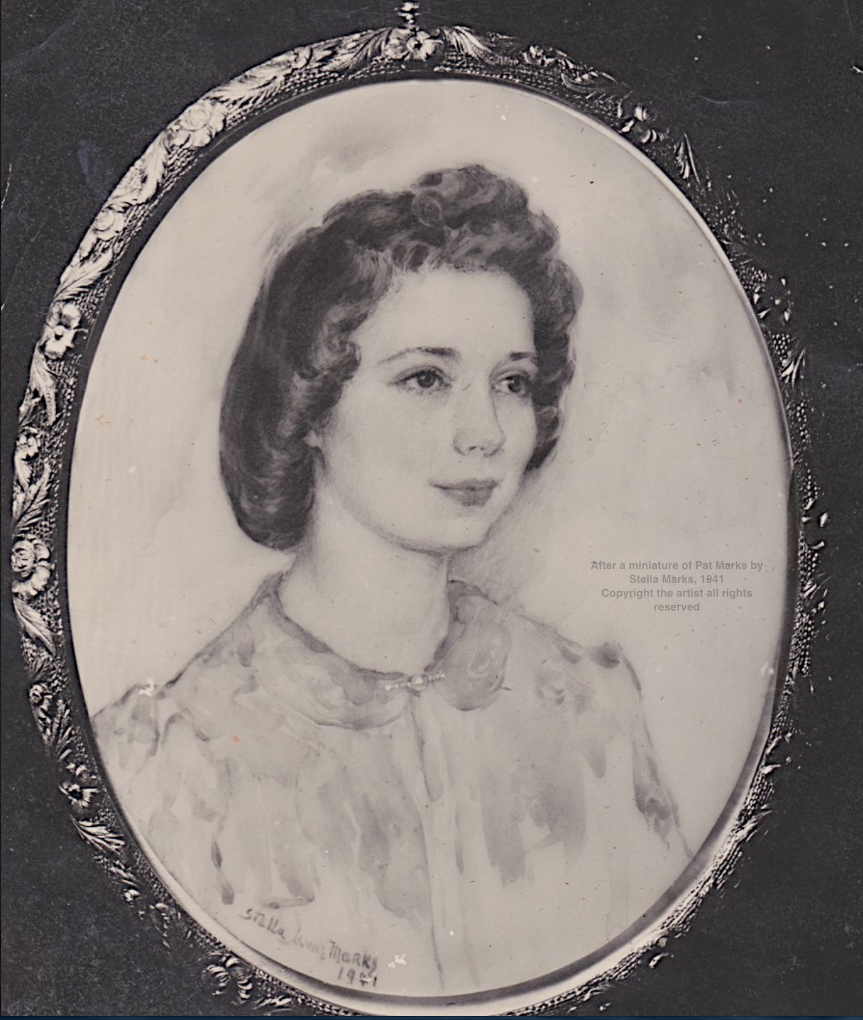 After a miniature of Pat Marks by Stella Marks, 1941 Copyright Stella Marks' Estate all rights reserve