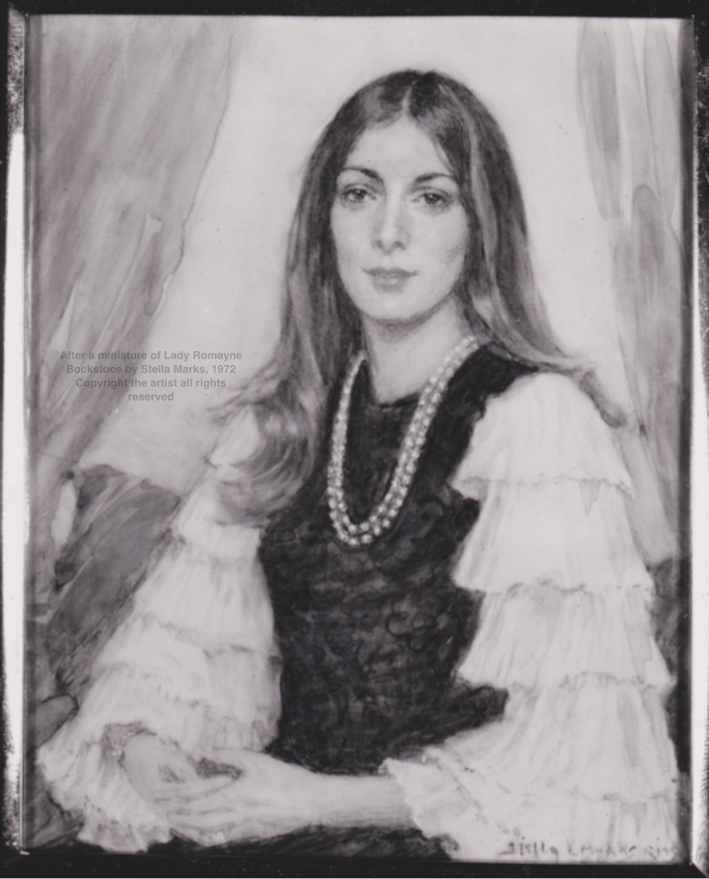 After a miniature of Lady Romayne Bockstoce by Stella Marks, 1972 Copyright Stella Marks' Estate all rights reserved