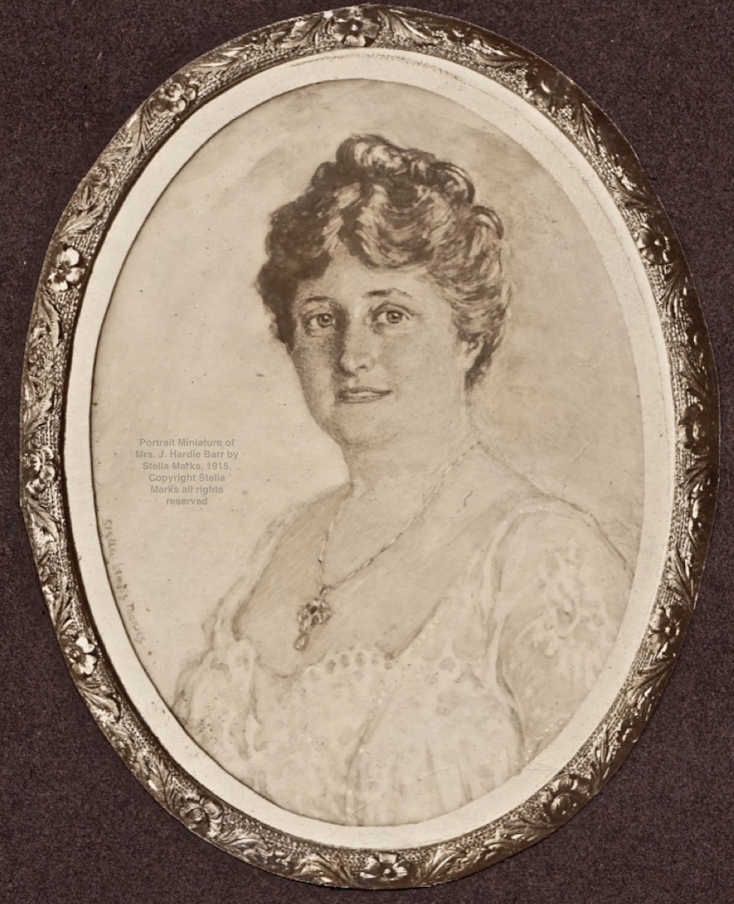 After A Portrait Miniature of Mrs. J. Hardie Barr by Stella Marks, 1915. Copyright Stella Marks' Estate all rights reserved