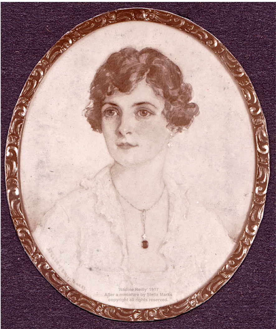 After a miniature by Stella Marks of Nadine Reilly 1917, wife of Sidney Reilly. Copyright Stella Marks' Estate all rights reserved.