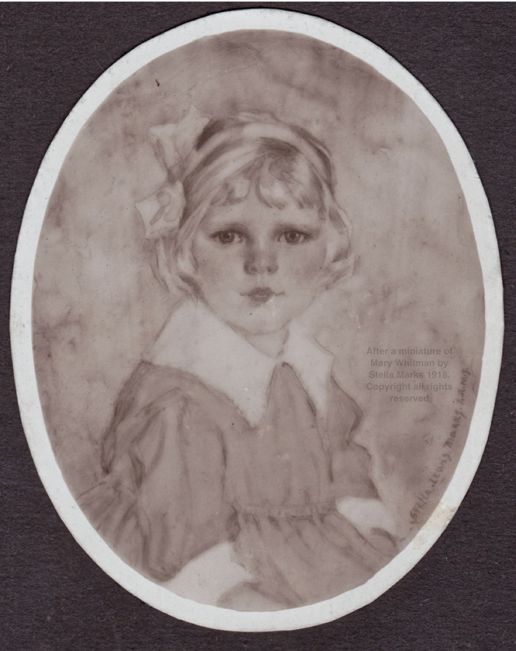 After a miniature of Mary Whitman by Stella Marks 1918. Copyright Stella Marks' Estate all rights reserved