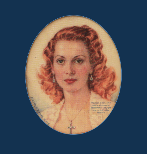 Maureen O'Hara 1953. After a portrait miniature by Stella Marks. Copyright Stella Marks' Estate all rights reserved .