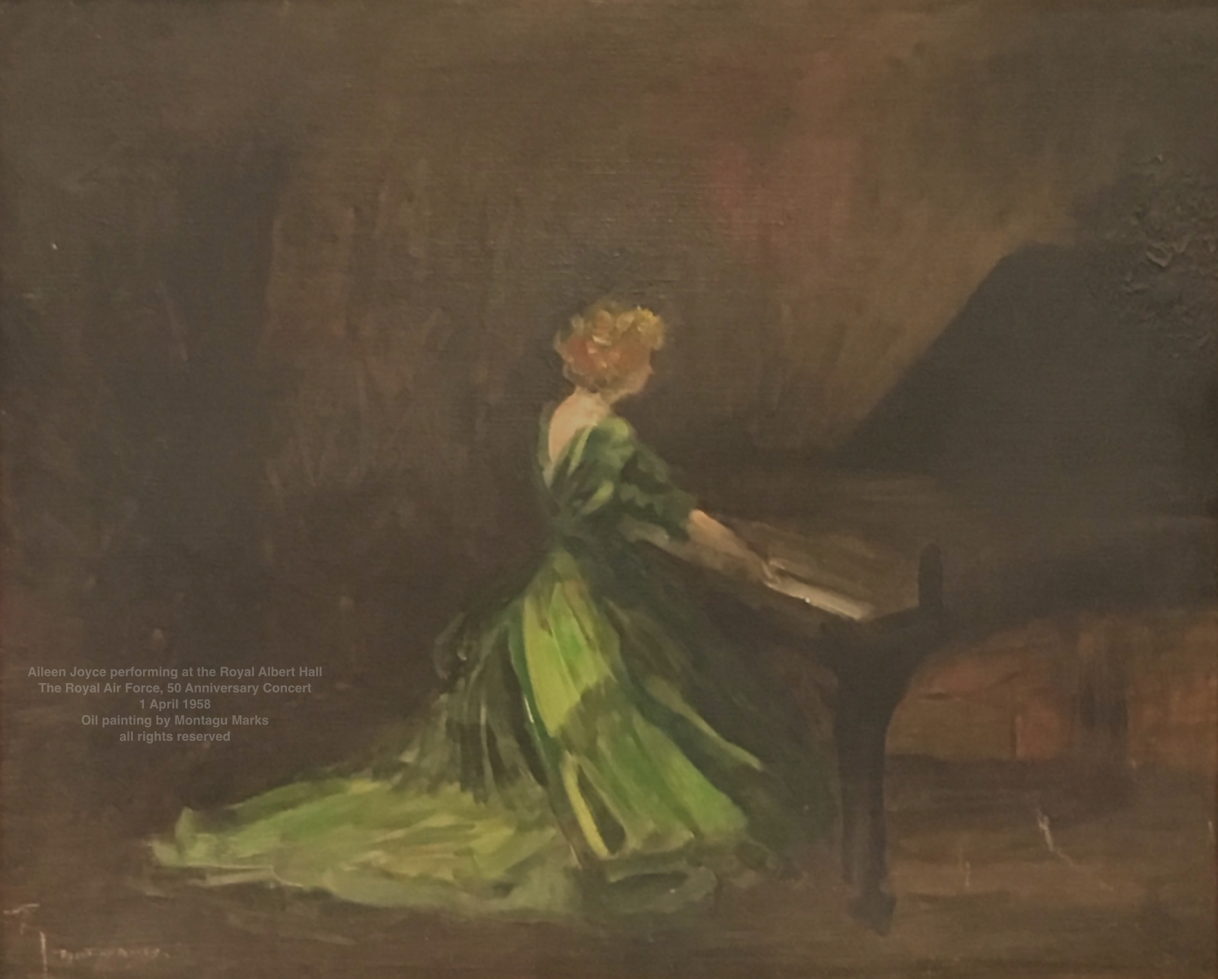 Aileen Joyce performing at the Royal Albert Hall: The Royal Air Force, 50 Anniversary Concert, 1 April 1958. Oil painting by Montagu Marks all rights reserved. Private Collection.