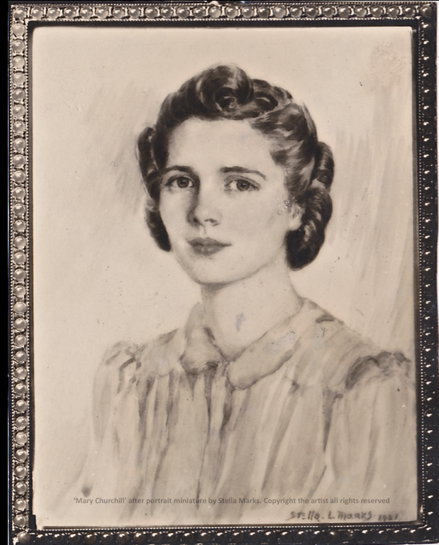 After A Portrait Miniature by Stella Marks of Mary Churchill 1941. Copyright Stella Marks' Estate All Rights Reserved