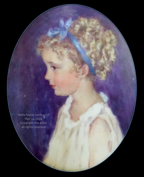 Stella Marks' portrait Miniature of her DaUghter 'Pat' ca 1924. Copyright Stella Marks' Estate all rights reserved. Private Collection.