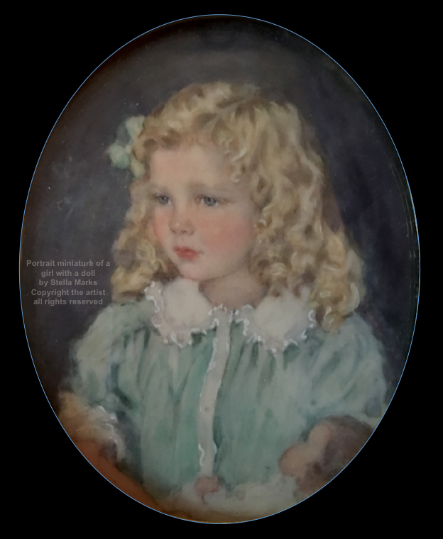 Portrait miniature of a girl with a doll by Stella Marks Copyright Stella Marks' Estate all rights reserved. Private Collection.