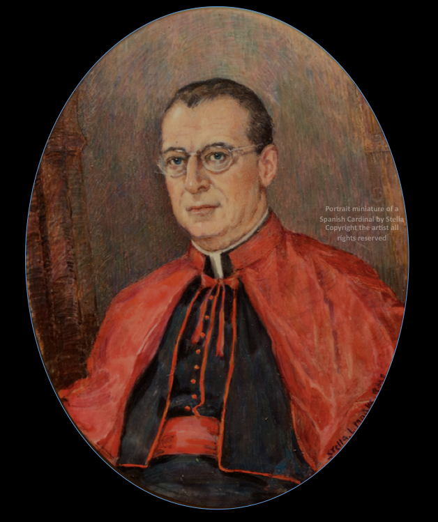 a portrait miniature by Stella Mark of a Spanish Cardinal. Copyright Stella Marks' Estate all rights reserved. Preivate Collection.