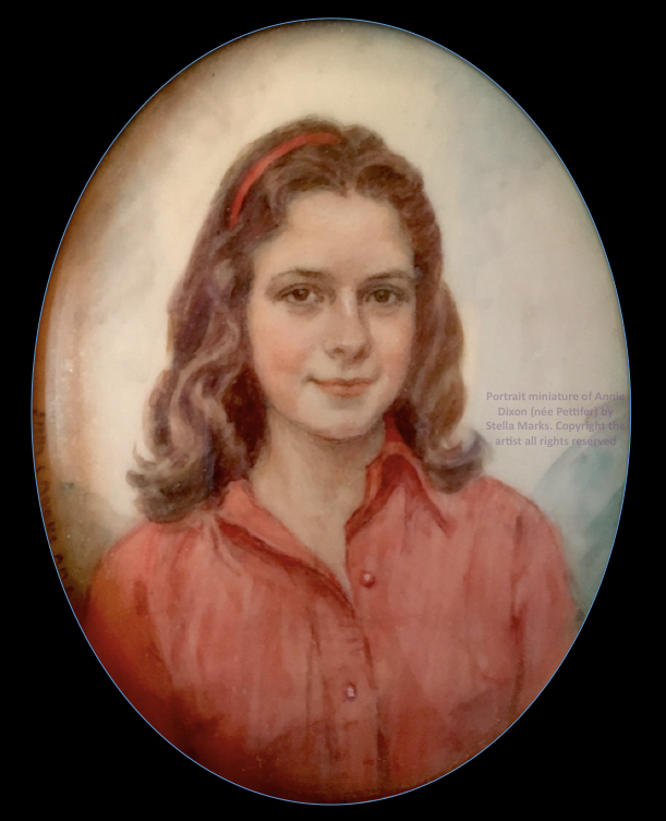 Portrait miniature of Annie Dixon (née Pettifer) by Stella Marks. Copyright Stella Marks' Estate all rights reserved. private Collection.