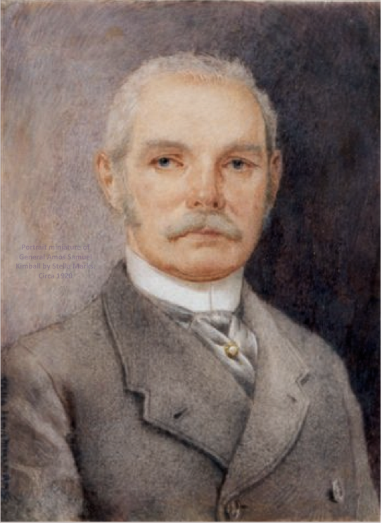 Portrait miniature of General Amos Samuel Kimball painted posthumously by Stella Marks. Circa 1920. Copyright Stella Marks' Estate All Rights Reserved
