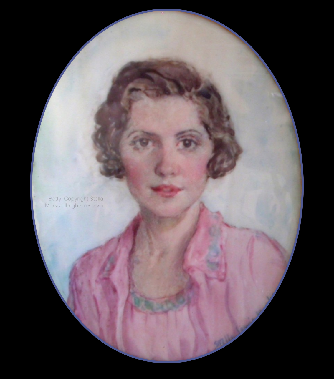 a Miniature by Stella Marks of her sister-in-law 'Betty', Née   Elizabeth Latourette. Copyright all rights reserved. Thanks to Joan Craig Birdsall for the Photograph.