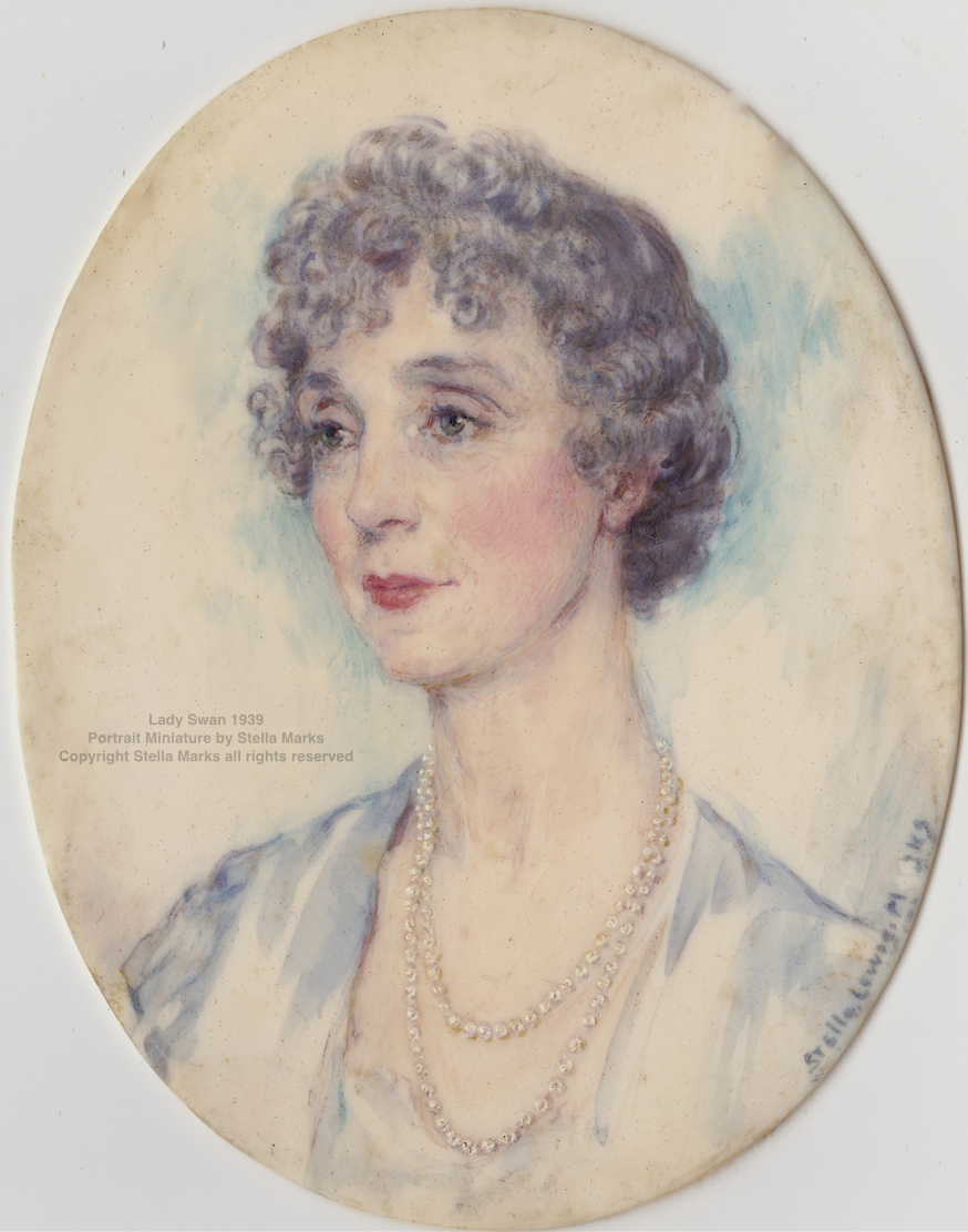 Lady Swan 1939. Portrait Miniature by Stella Marks. Copyright Stella Marks' Estate All Rights Reserved. Private Collection.