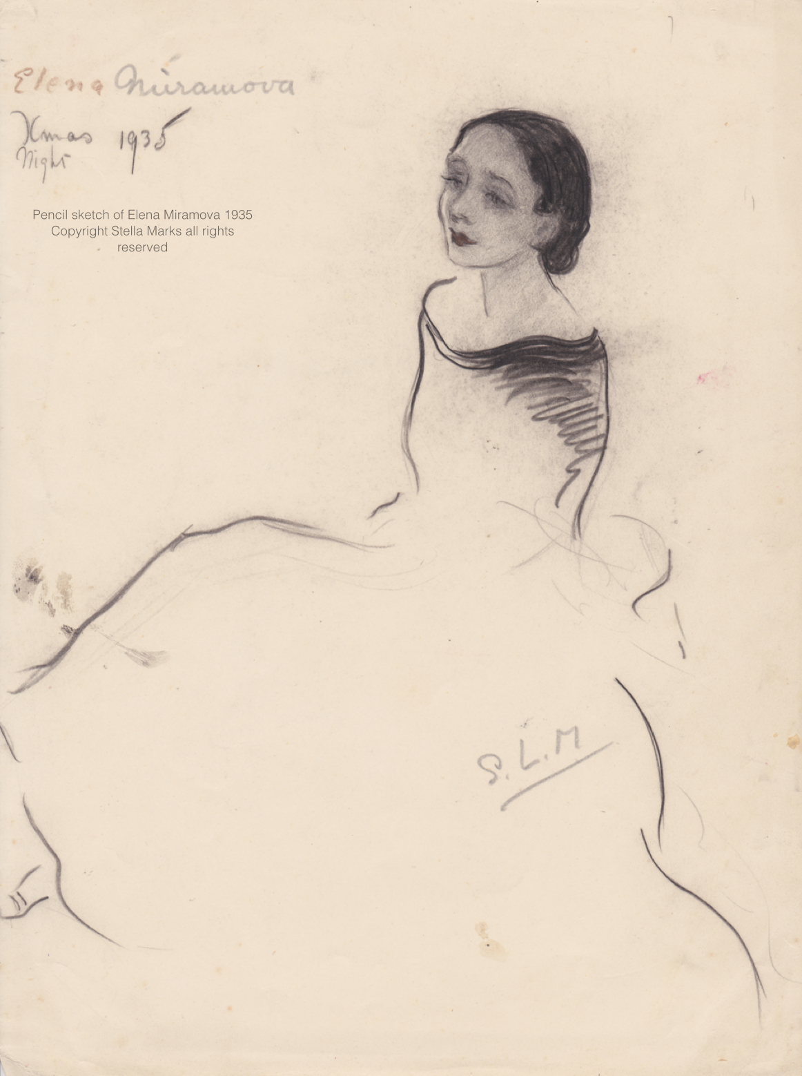 Stella Marks' pencil sketch of Elena MiRAmova 1935. CopyriGHT Stella Marks Estate. All Rights Reserved. Private Collection.