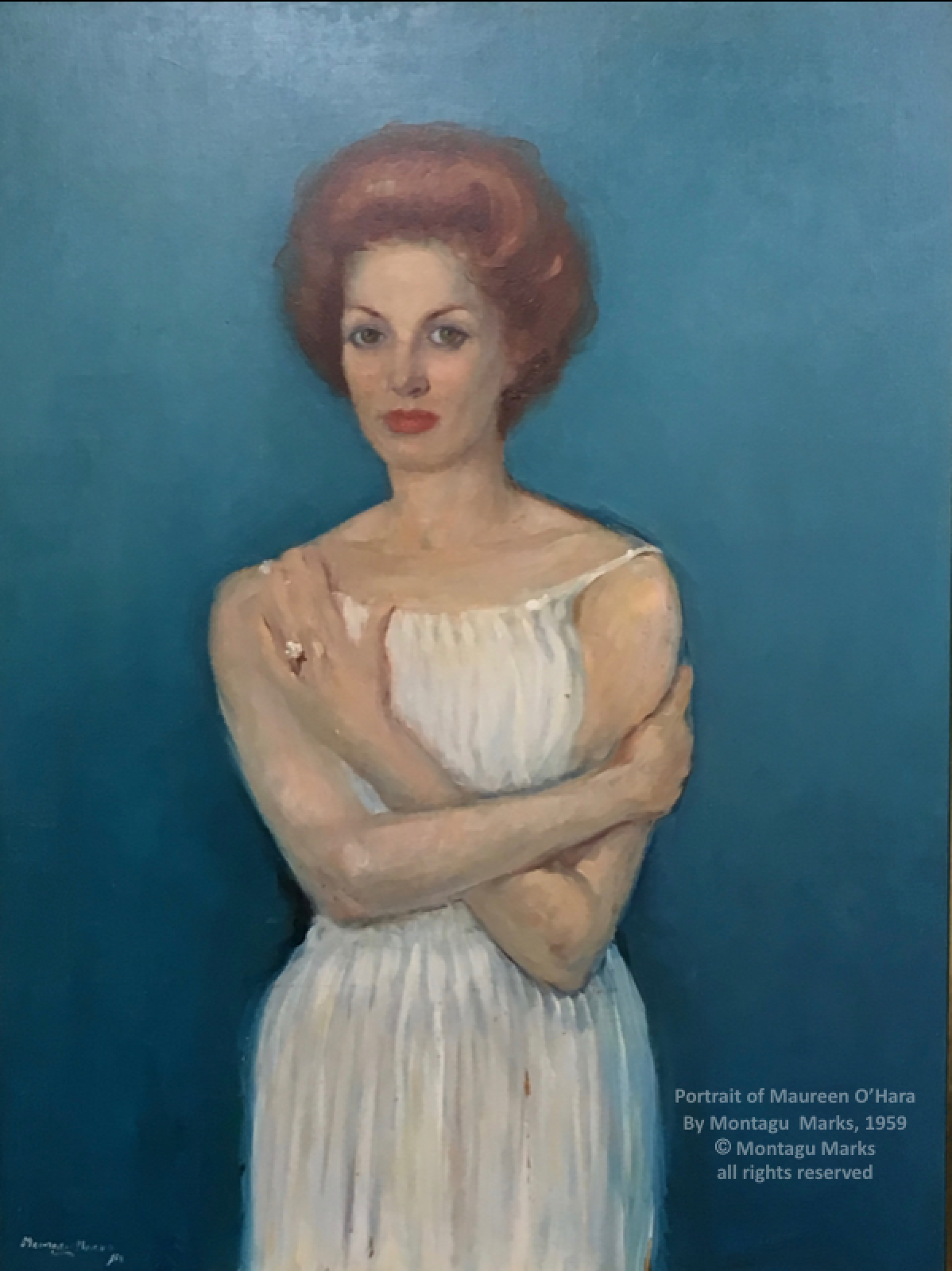 Portrait of Maureen O'Hara by Montagu Marks, 1959. Copyright Montagu Marks Estate all Rights Reserved. Private Collection.