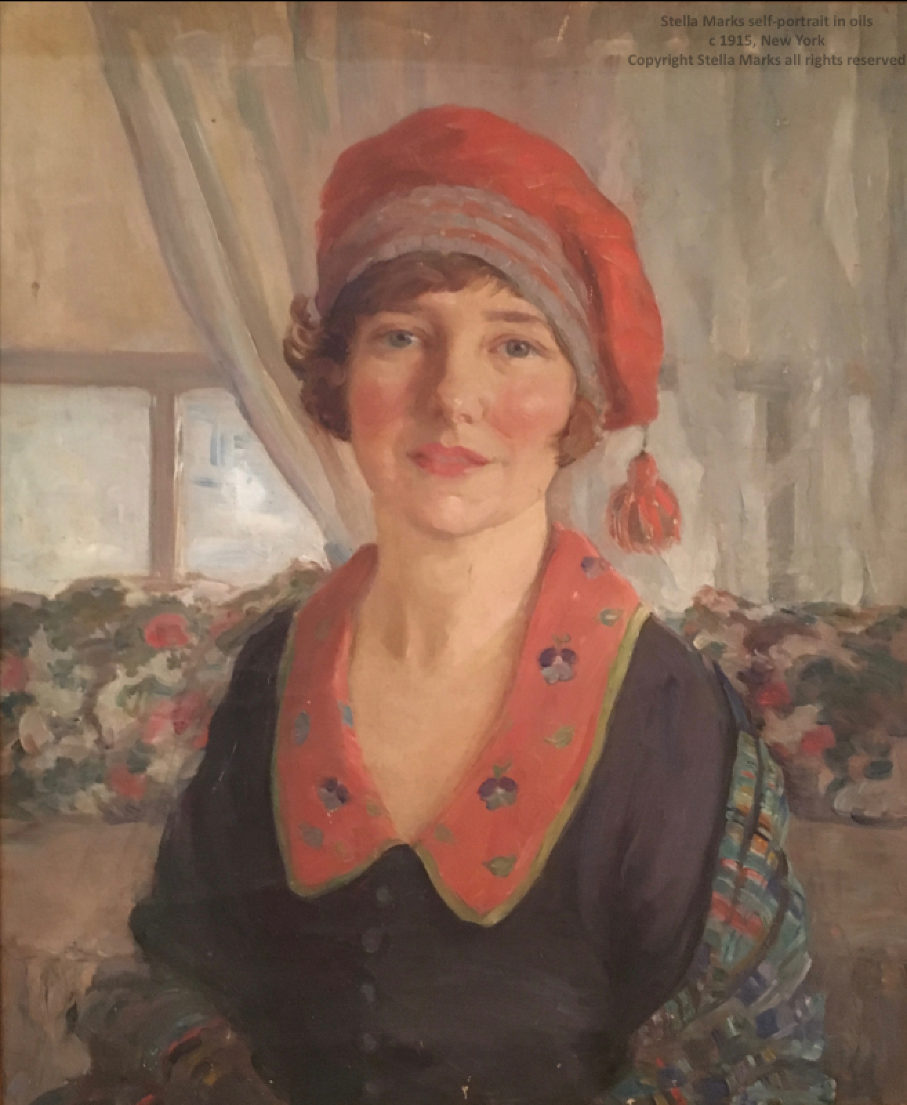 a Self-Portrait in oils by Stella Marks circa 1915. Copyright Stella Marks' Estate All rights Reserved. Private collection.