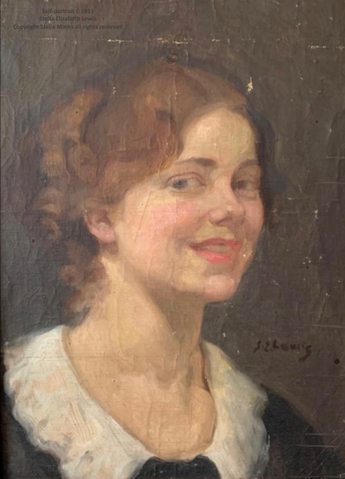 Self-portrait of Stella Marks before her marriage, signed S.E. Lewis. Copyright Stella Marks' Estate All Rights Reserved