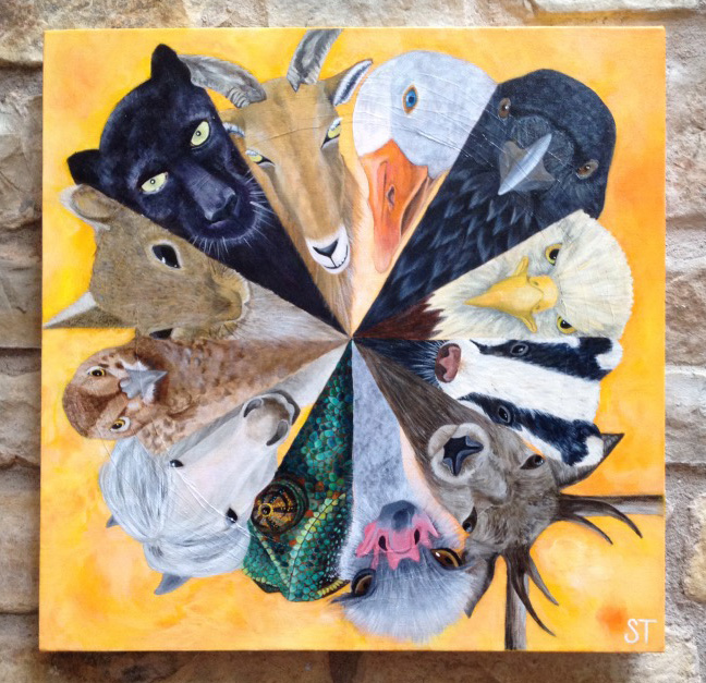 """Spirit Animal Guides together in a circle - """"Circle of Friends"""", © Sharyn Turner - Acrylic, 2016"""