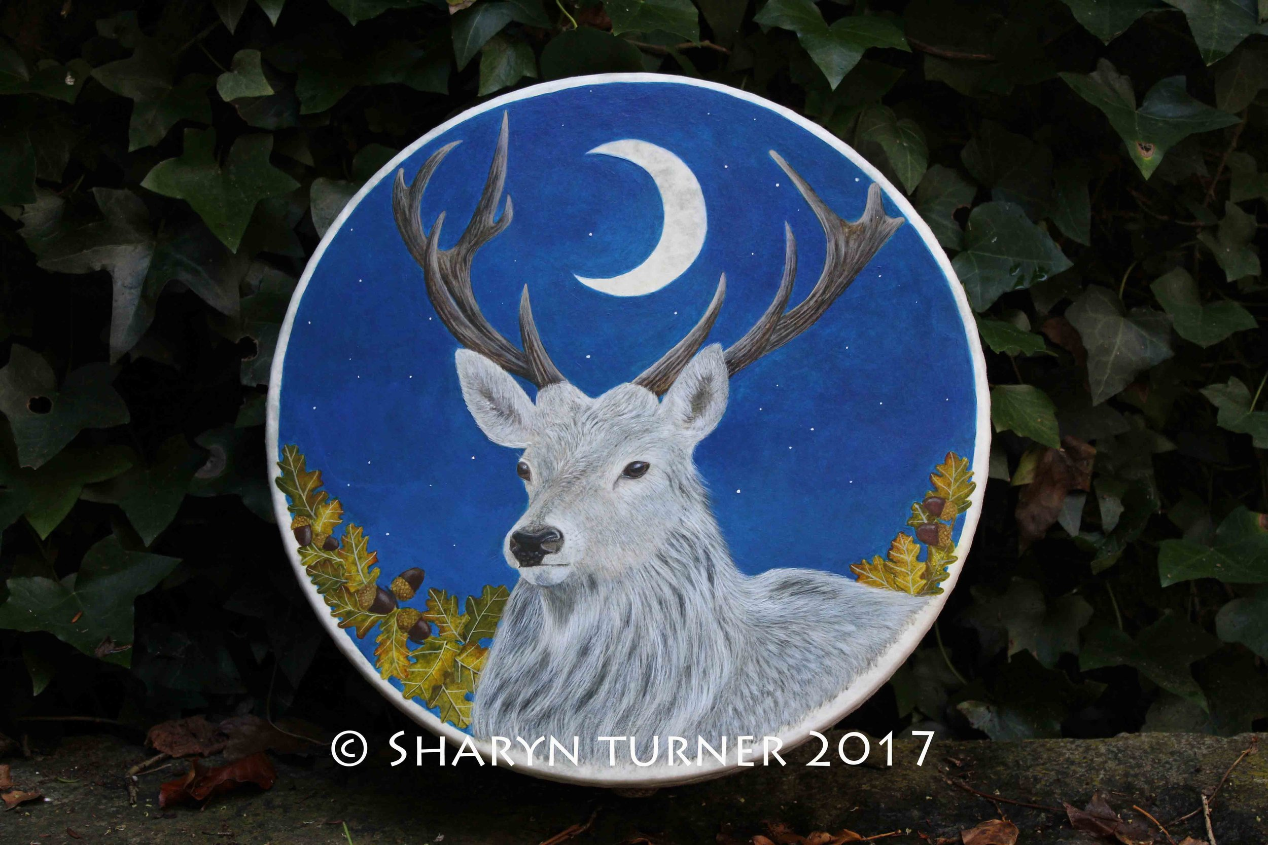 White Stag Fae Drum - Acrylic on Fibreskyn © Sharyn Turner