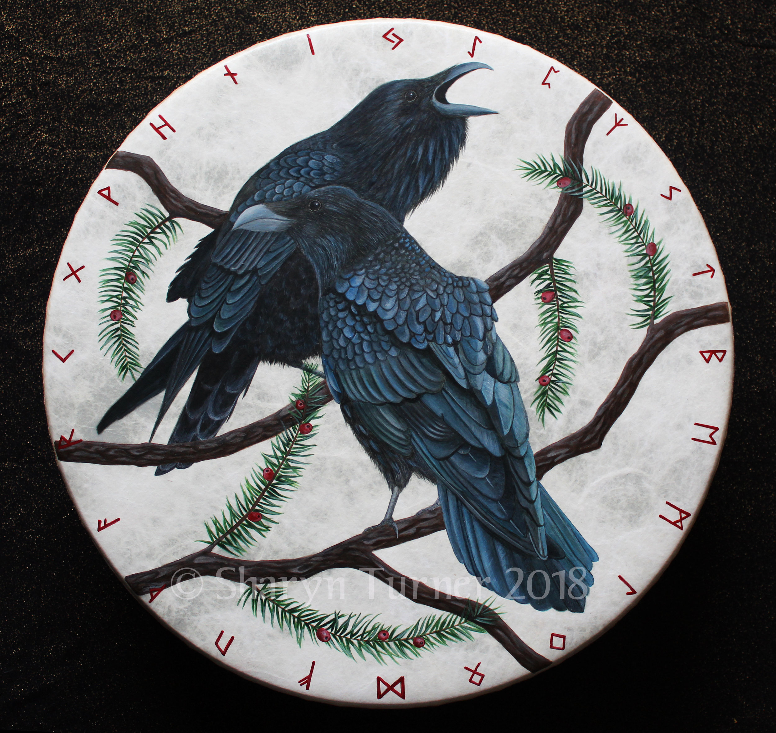 Odin's Ravens Rune Drum - Acrylic on Fiberskyn © Sharyn Turner 2018