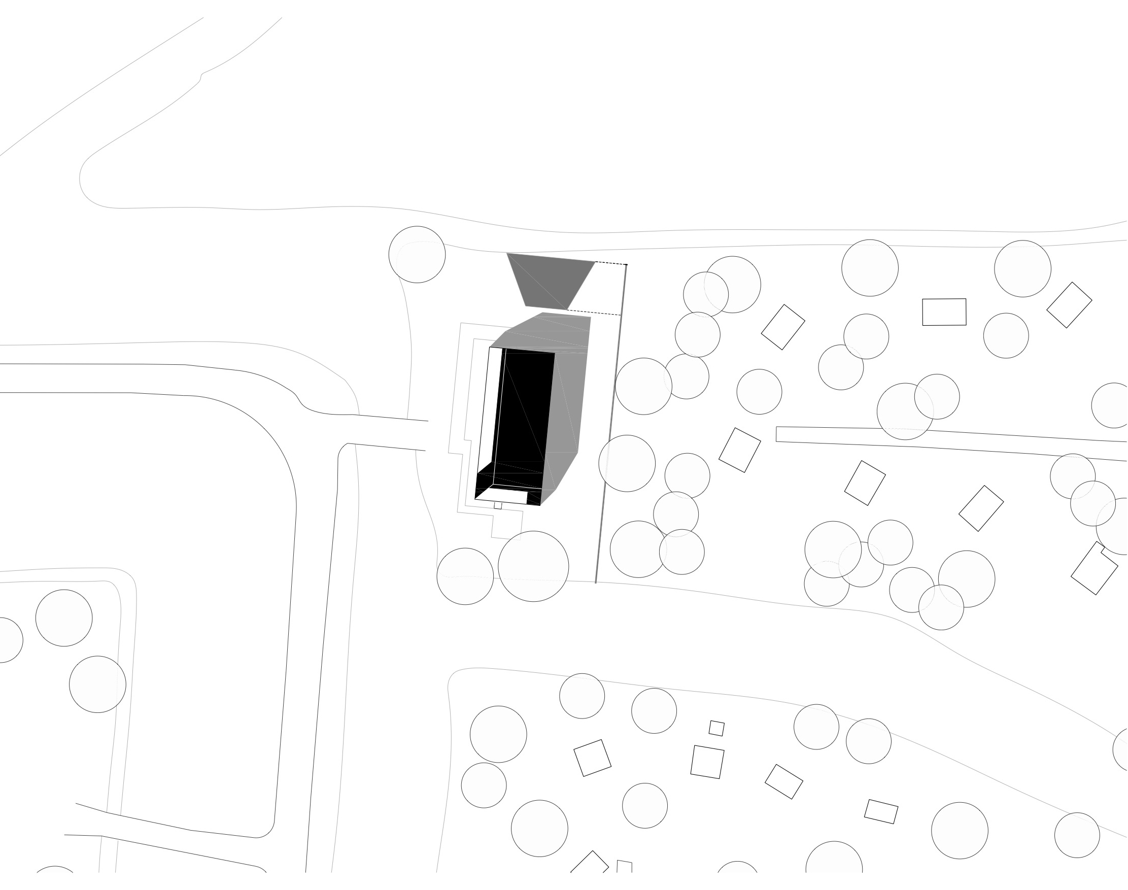site plan main building with an additional studio and car port