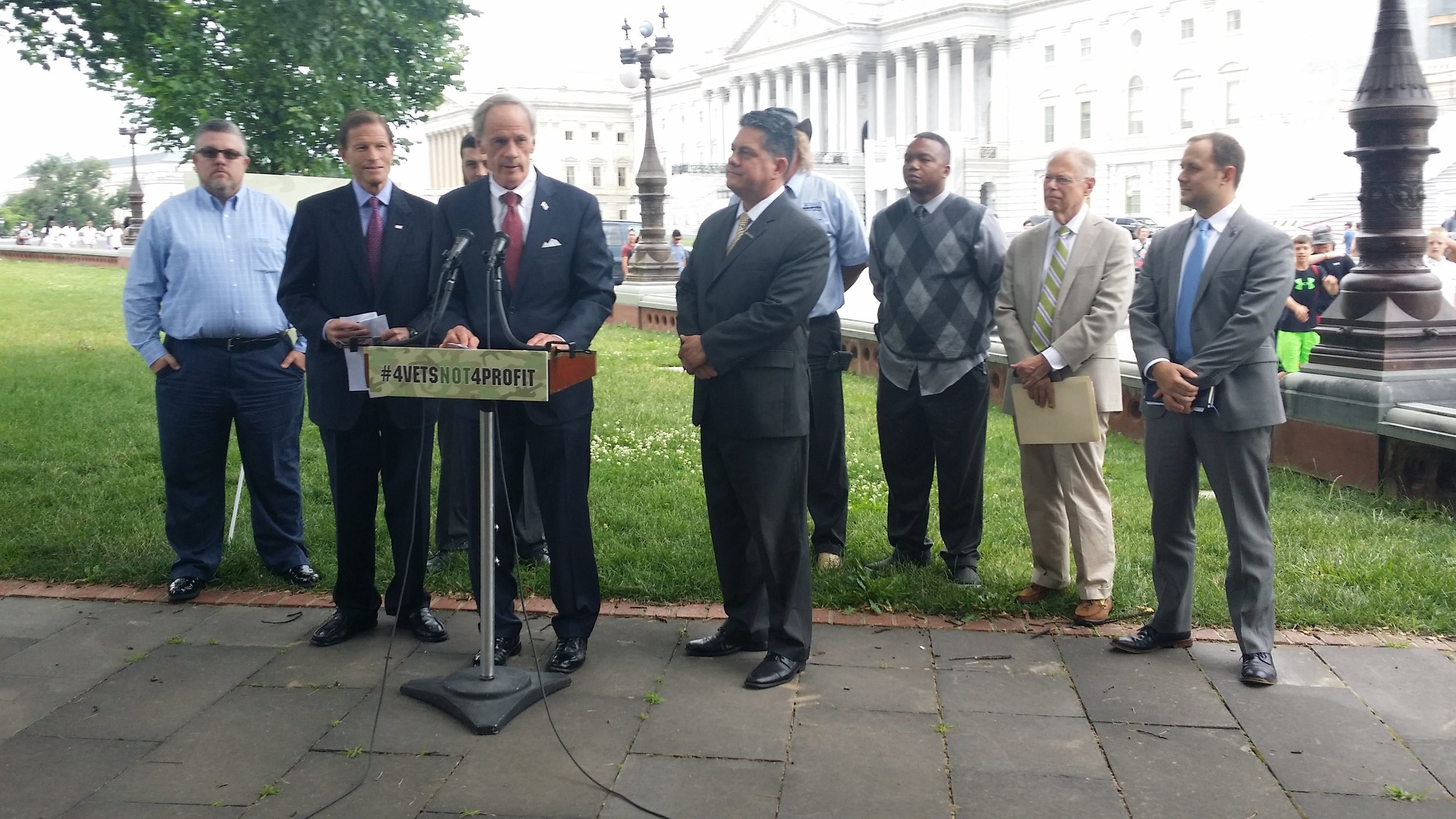 SEN. TOM CARPER & SEN. RICHARD BLUMENTHAL JOIN STUDENT VETERANS, VES, SVA & IAVA FOR A PRESS CONFERENCE ON THE 90/10 LOOPHOLE LEGISLATION, june 2016