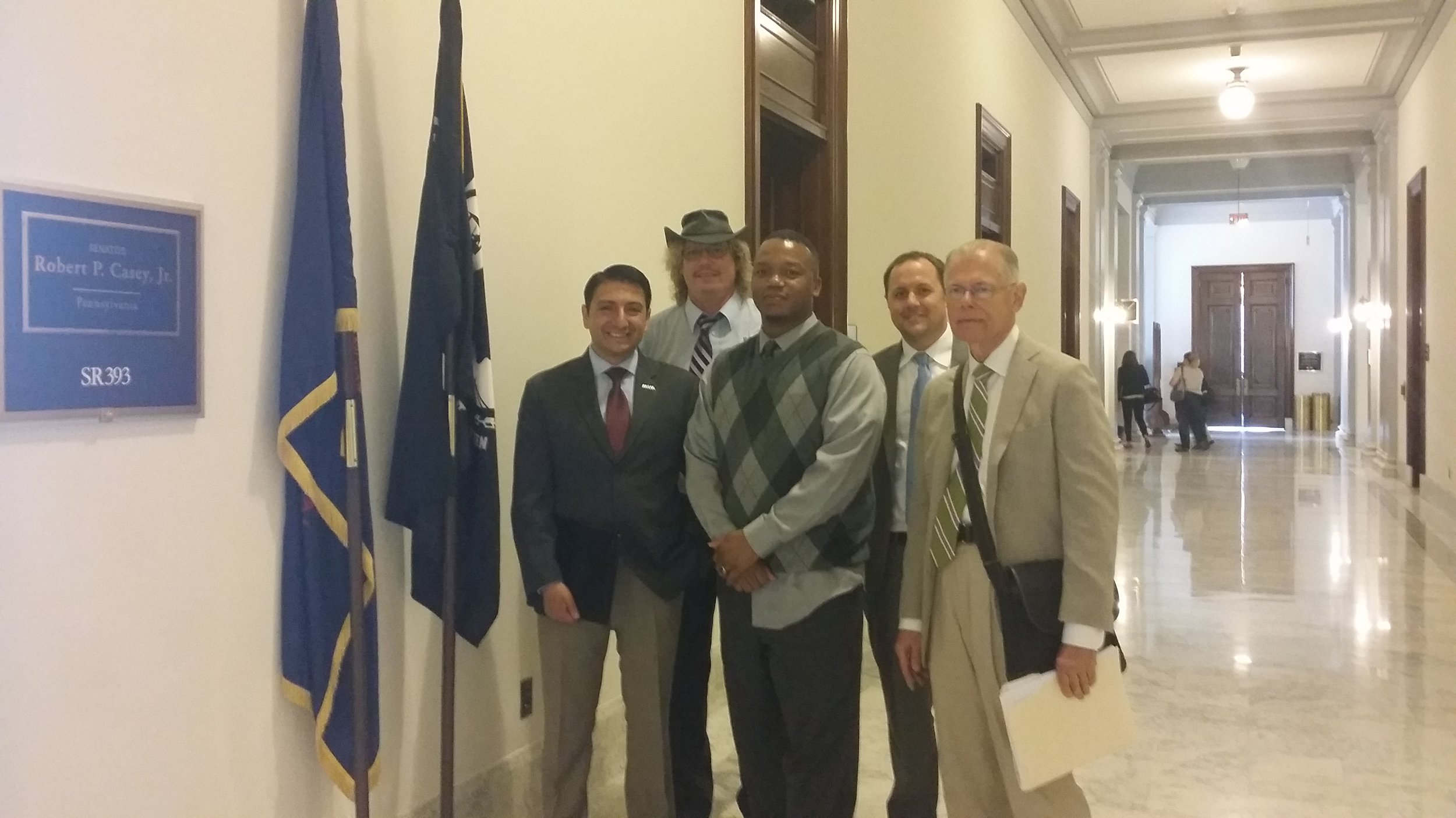 Student veterans, along with VES Policy Director walter ochinko, and representatives of student veterans of america and iraq & afghanistan veterans of america, meet with Senate offices (June 2016)