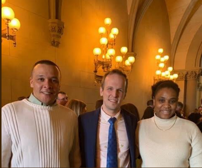 Student veterans zach hastie and michelle kernizan joined our state policy manager ramond curtis to ask NY legislators to protect student veterans (Albany, NY, March 2019)