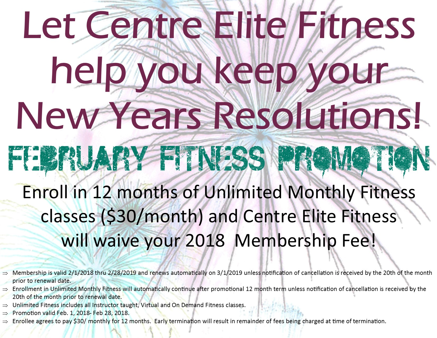 Call us at 814-380-0894 or stop by the office for more information about Fitness Classes at Centre Elite! Sign up today for our February Fitness Promotion!